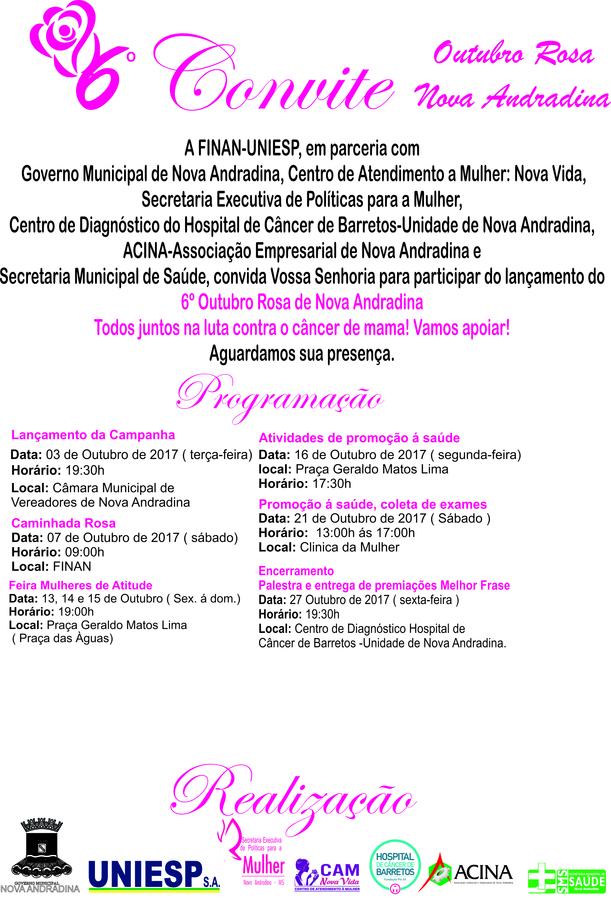 Center convite outubro rosa 2017